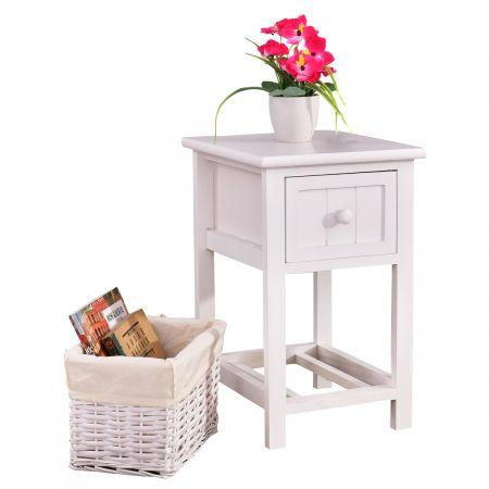 Nachttisch mit Korb Nachtschrank Nachtkonsole Nachtkommode Beistelltisch Landhausstil weiß