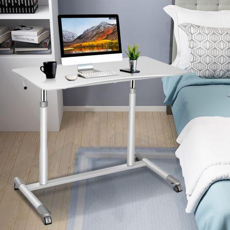 Costway Schreibtisch Verstellbar Computertisch mit Rollen Laptoptisch Arbeitstisch