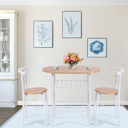 Tischgruppe 3 tlg Minimalismus Design Küche Essgruppe Esszimmergarnitur Natur
