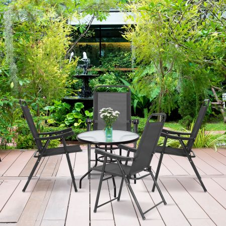 4er Set Gartenstuhl Klappstuhl aus Textilene Terrassenstuhl Hochlehner klappbarer Campingstuhl dunkelgrau