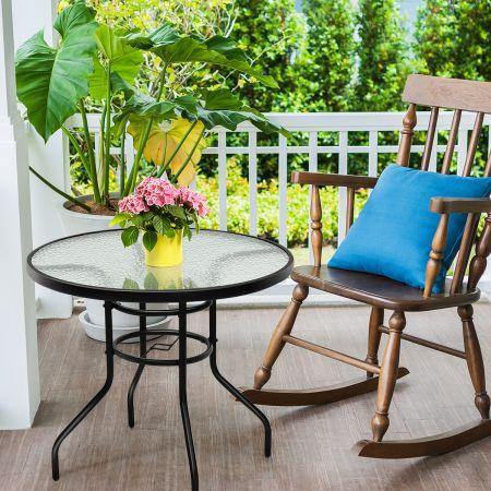 Costway Bistrotisch Gartentisch Glastisch Beistelltisch Balkontisch Terrassentisch für den Innen- und Außenbereich Schwarz