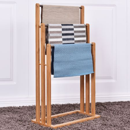 Handtuchhalter Handtuchständer Standhandtuchhalter 3 Stangen Freistehend Bambus