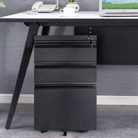 Rollcontainer abschließbarer Büroschrank Aktenschrank mit Kippschutz Bürocontainer mit 3 Schubladen Schwarz