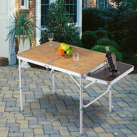 Costway Campingtisch Klapptisch Gartentisch Koffertisch mit Seitenablage und Tragegriff 90 x 60cm