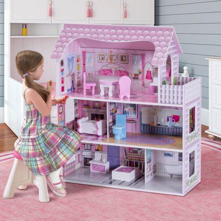 3 Etagen Puppenstube Holz Puppenvilla Mädchen Rosa