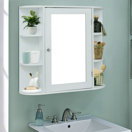 COSTWAY Wandschrank Badezimmer Spiegelschrank mit Spiegeltür und Ablagen Weiß 65 x 17 x 63 cm