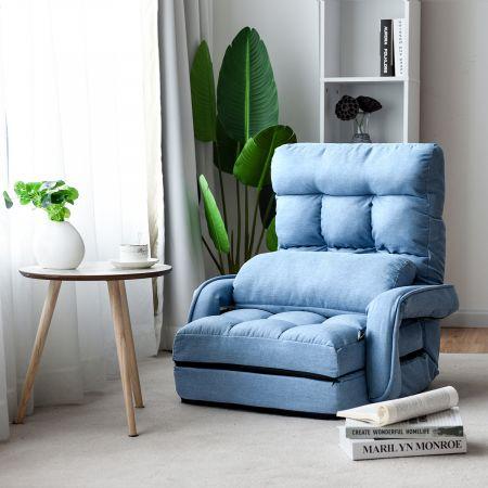 Costway Schlafsofa Lazy Klappsofa Schlafsessel für Zuhause und Büro Blau