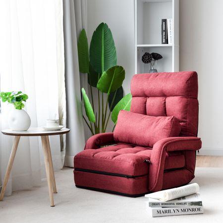 Costway Schlafsofa Lazy Klappsofa Schlafsessel für Zuhause und Büro Rot