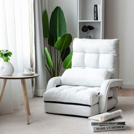Costway Schlafsofa Lazy Klappsofa Schlafsessel für Zuhause und Büro Weiß