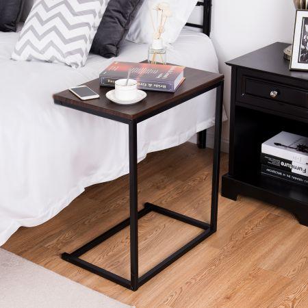 Costway Beistelltisch Laptoptisch Computertisch PC Tisch Seitentisch Metall + Holz 55 x 35 x 65 cm Kaffee