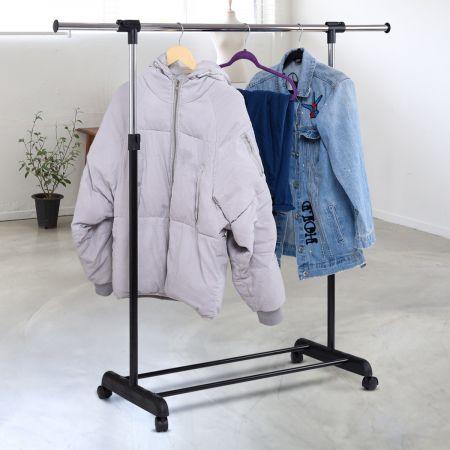 Kleiderständer Kleiderstange mit Ablage Rollgarderobe höhenverstellbar