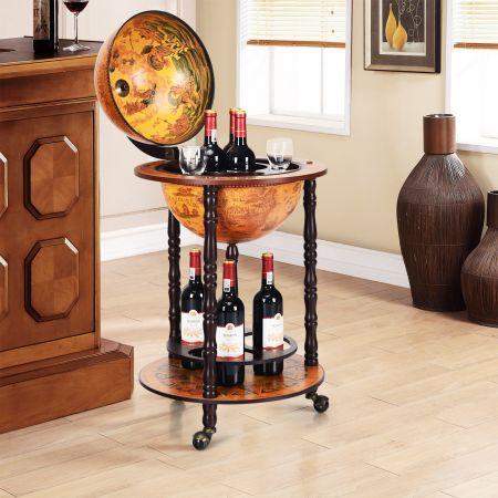 Costway Rollender Globus-Weinständer Globus Bar auf Rollen für Wein 47 x 47 x 90 cm Braun
