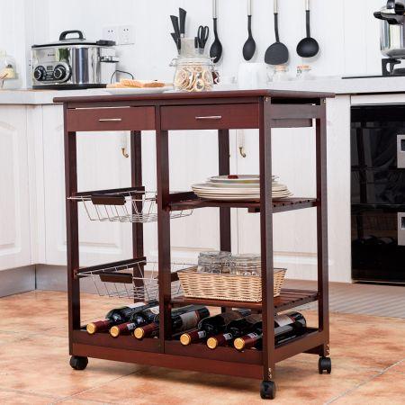 COSTWAY Küchenwagen 3 Ablagen Küchenregal Rollwagen Holz Weinrot