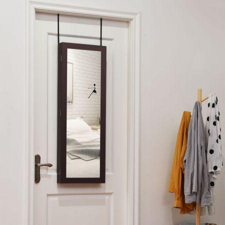 Schmuckschrank Spiegelschrank Wandspiegel 31,5 x 8,7 x 110 cm Braun