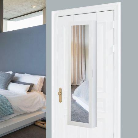 Schmuckschrank Spiegelschrank Wandspiegel Weiß 31,5 x 8,7 x 110 cm