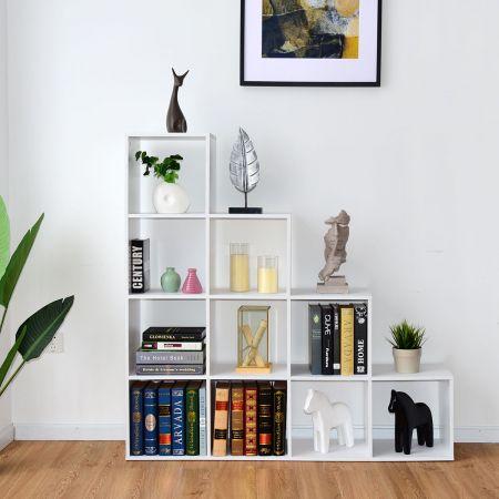 10 Fächer Weiß Holz Treppenregal Bücherregal