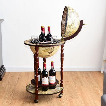 Massivholz Weltkugel Mini Globusbar Hausbar Flaschenregal