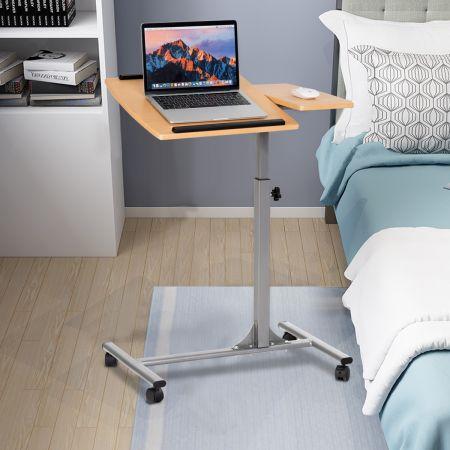 Laptoptisch Höhenverstellbarer Notebooktisch Betttisch mit Rollen und Bremsen Natur 64 x 44 x 64-95 cm