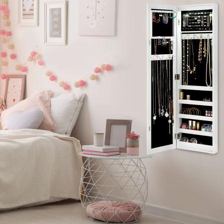 Costway Schmuckschrank für Tür und Wandmontage Ganzkörperspiegel Spiegel mit Aufbewahrungsregalen 30 x 8,5 x 129,5 cm Weiß