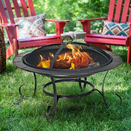 Feuerstelle Garten Grill Feuerkorb mit Funkenhaube 76 x 76 x 53 cm Schwarz