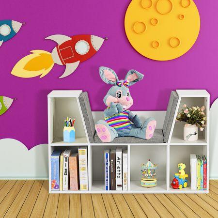 Costway Bücherregal Raumteiler Bücherschrank mit Kissen Weiß 102,5 x 30 x 63,5 cm