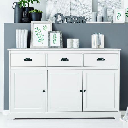 Costway Buffetschrank Sideboard Standschrank mit 3 Schubladen und 3 Türen Weiß