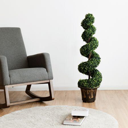 Costway 2er Set Kunstpflanze 120cm Künstlicher Spiralbaum Zimmerpflanze Im Blumentopf Dekopflanze