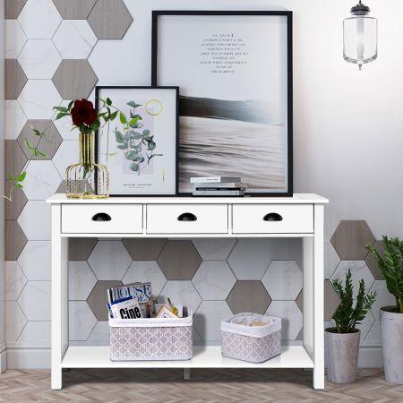 Costway Konsolentisch Industrie Design Beistelltisch mit 3 Schubladen Ablage Beistelltisch Weiß