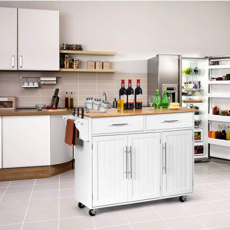 Costway Kücheninsel Servierwagen Küchenwagen mit Rollen Weiß 122 x 46 x 92,3 cm