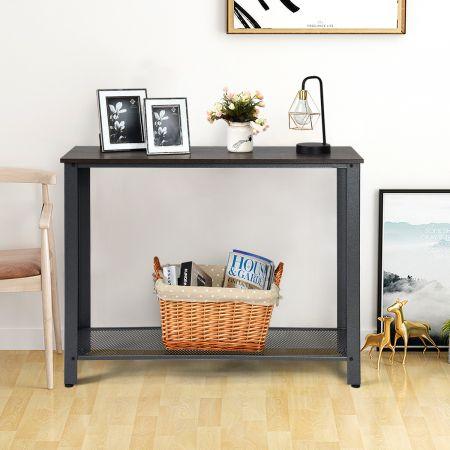 Costway Konsolentisch Beistelltisch Sofatisch Quadratisch Braun/Grau 102 x 35 x 80 cm
