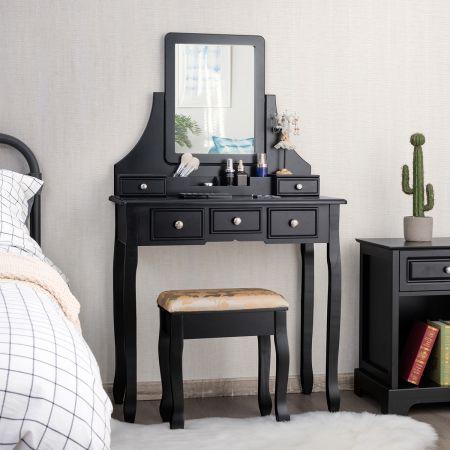 Costway Schminktisch mit Hocker Frisiertisch-Set Kosmetiktisch mit 5 Schubladen und Spiegel Schwarz