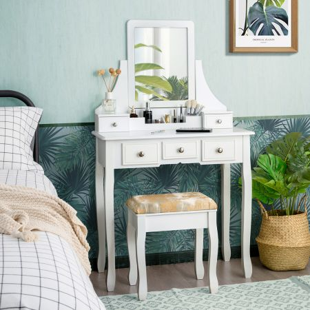Costway Schminktisch mit Hocker Frisiertisch-Set Kosmetiktisch mit 5 Schubladen und Spiegel Weiß