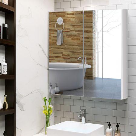 Costway Badezimmer Spiegelschrank Wandschrank Hängeschrank mit Spiegel Weiß 62 x 11 x 65 cm