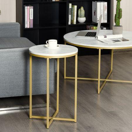Costway Beistelltisch Rund Klein Sofatisch Nachttisch fürs Bett Kaffeetisch Wohnzimmertisch Metall