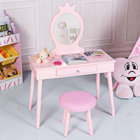 Costway Kids Vanity Schminktisch-Set Kinder Schminktisch Make-up Tisch mit Hocker und abnehmbarem Spiegel Rosa