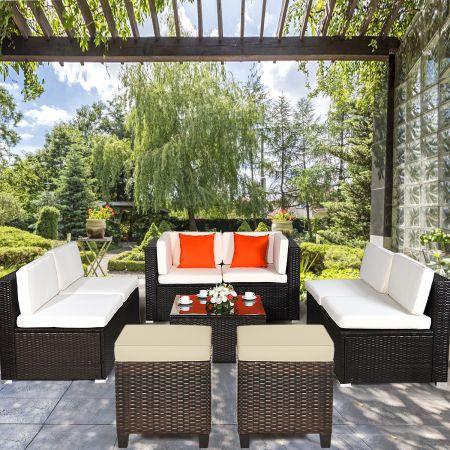 Costway 2er Ratten Sitzhocker Garten Hocker Rattan-Ottomanen mit Sitzkissen 40 x 40 x 45 cm Braun + Beige