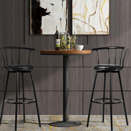 2 Barhocker Bar Sitze mit 360 Grad drehbarer Sitzfläche Barstuhl aus Stahlrohren und dicken Schaumstoffkissen Schwarz