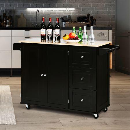 Costway Rollbarer Küchenwagen mit klappbarerArbeitsfläche Kücheninsel 136 x 76 x 91 cm Schwarz