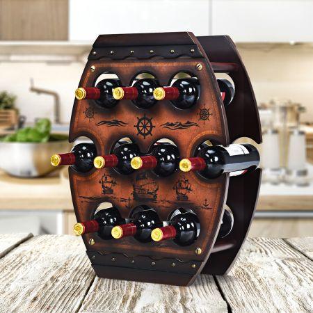 Costway Weinregal 10 Flaschen Weinlagerregal Freistehendes Flaschenregal Braun 45 x 20 x 59 cm