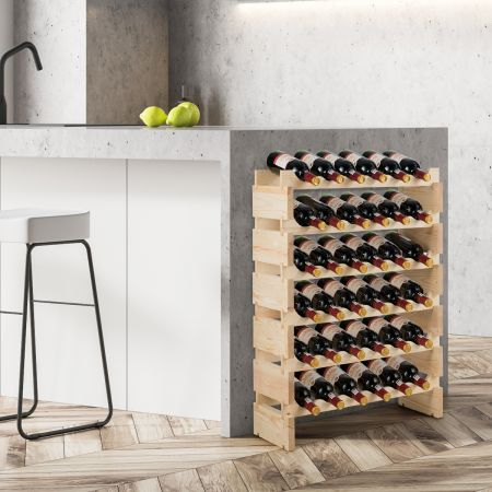 Costway Weinregal 36 Flaschen Große Kapazität Weinregal Hölzerner Wein Aufbewahrungsständer 63 x 28 x 85 cm