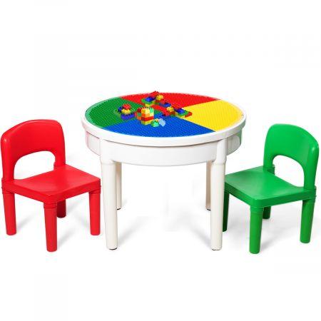 Costway 3tlg. Kinder Tischset Kindersitzgruppe Spieltischset mit Staufach Mehrfarbig