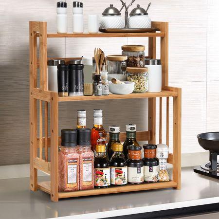Costway Küchen Eckregal 3 Ablagen Küchenregal Bambus Gewürzregal
