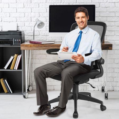 Costway Bürostuhl mit Massagefunktion Höhenverstellbar Ergonomischer Schreibtischstuhl Drehstuhl mit Rückenlehne Schwarz