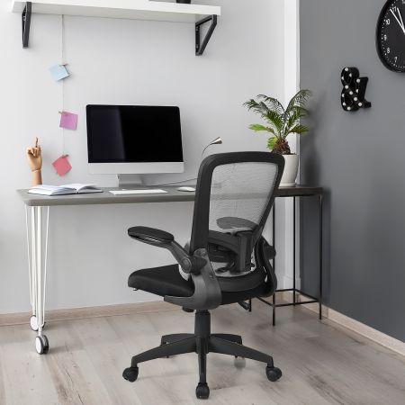 Bürostuhl mit Massagefunktion Ergonomischer Schreibtischstuhl Lendenwirbelstütze Drehstuhl mit hoher Rückenlehne höhenverstellbar Grau