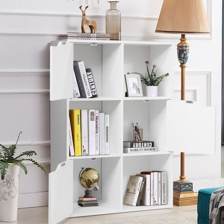 Freistehendes Regal mit Türen aus Holz Bücherregal mit 3 Offenen & 3 Geschlossenen Fächern