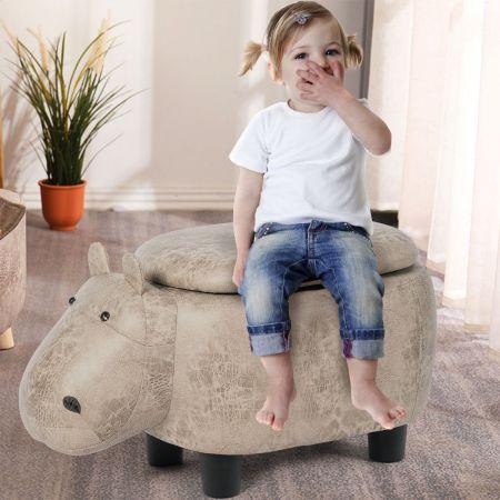 Costway Tierhocker Kinderhocker Sitzhocker mit Stauraum Polsterhocker Sitzbank Aufbewahrungsbox