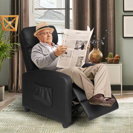 Costway Relaxsessel verstellbar Fernsehsessel TV Sessel Ruhesessel PU-Leder Schwarz