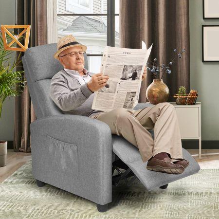 Costway Relaxsessel verstellbar Fernsehsessel TV Sessel Ruhesessel PU-Leder Grau