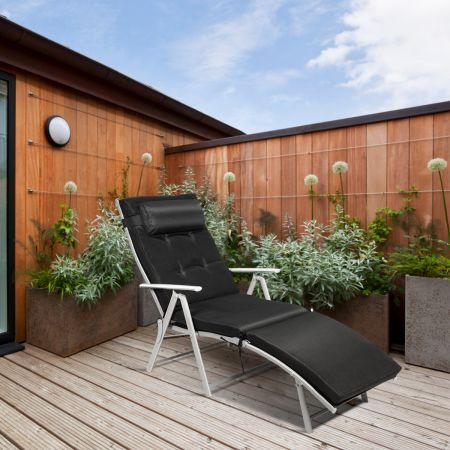 Costway Outdoor Klappstuhl Loungesessel klappbar Liegestuhl einstellbar Gartenstuhl Schwarz