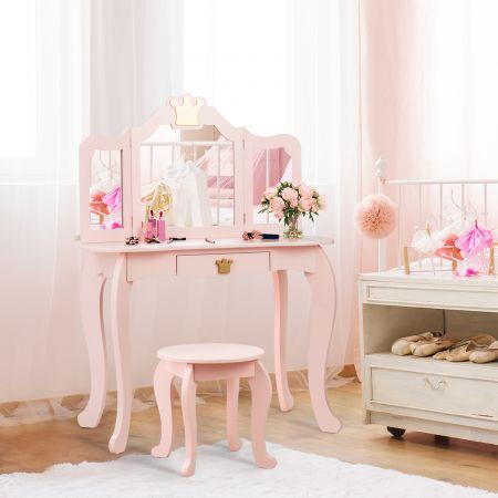 Costway 2 in 1 Kinder Schminktisch mit Hocker und abnehmbarer Spiegel Mädchen Frisiertisch Spiegeltisch 80x42x105cm Rosa